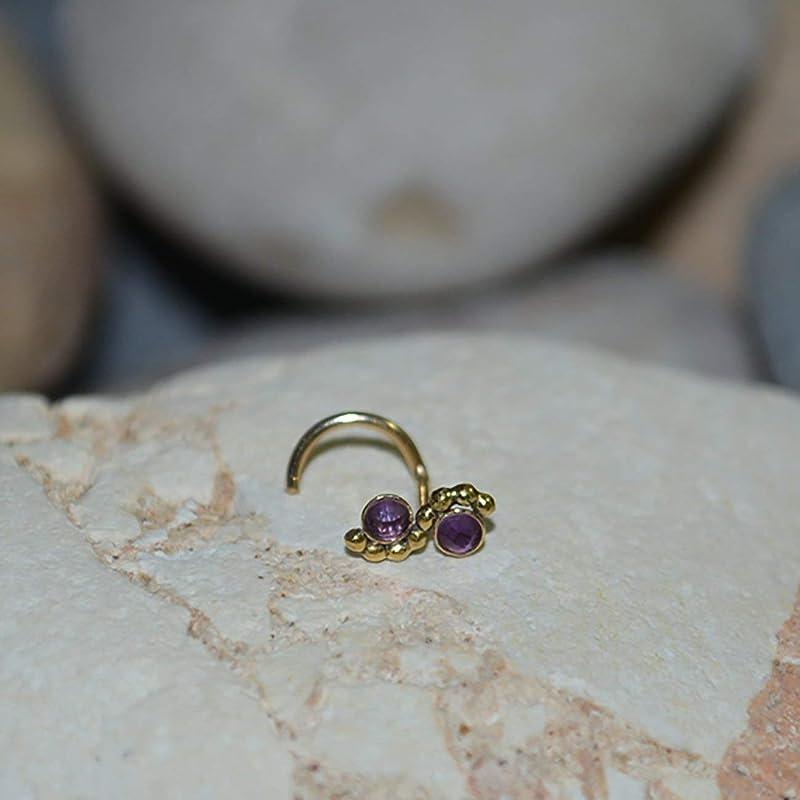 Helix Piercing Amethyst NOSE STUD  Gold Cartilage Stud Rook Earring Tragus Stud Cartilage Earring Stud Nose Ring 20g Nose Hoop