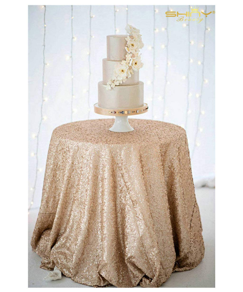 """ShiDianYi 72"""" Round Champagne Sequin Tablecloth"""