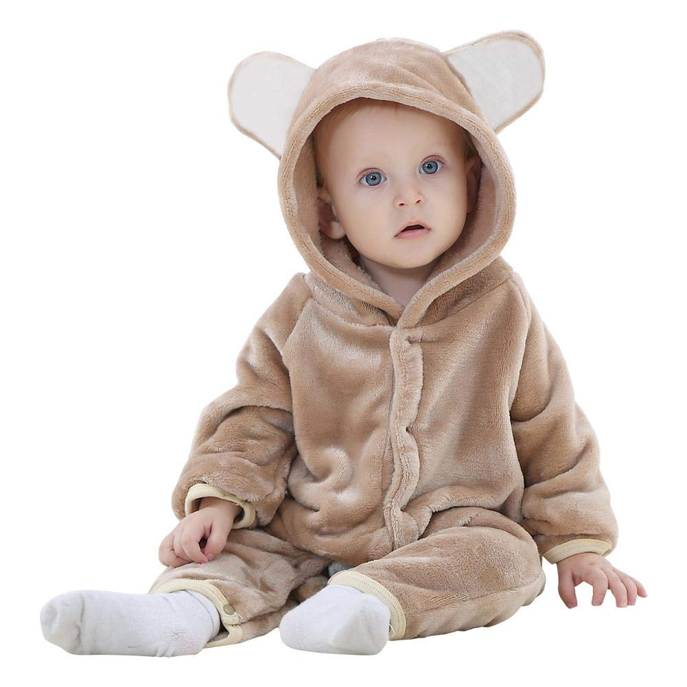 Chinatera Baby Boys Girls Hoodies Romper Outfit Onesies Cute Bear Style Pajamas