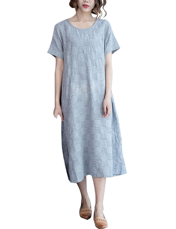 Youlee Frauen Sommer Baumwolle Kurzarm Kleid Mit Taschen