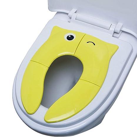 Tapa Plegable WC, CNNIK Cojín de asiento de inodoro de silicona antideslizante, portátil reutilizable Viajar inodoro orinal de entrenamiento cubiertas ...