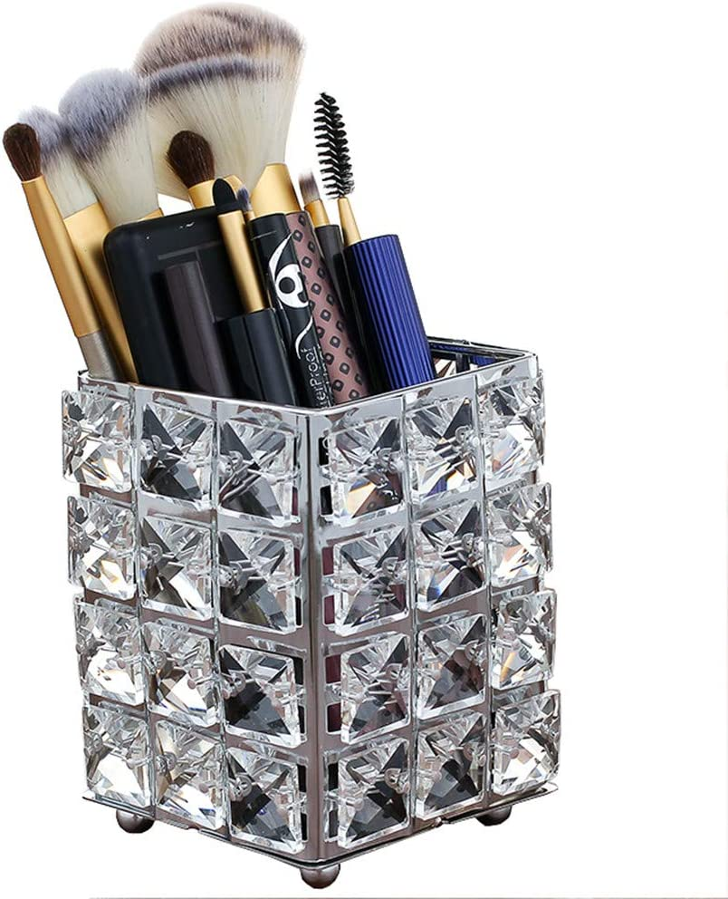 Smi Love Makeup Brush Holder Crystal Makeup Brush Organizer Storage Bucket Eyebrow Pencil Pen Cup Tools Container Silver Square