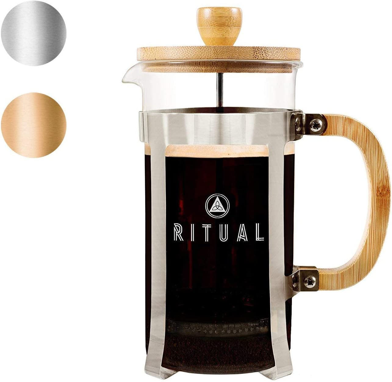 Ritual French Coffee Press New 2019 Version , Bamboo Wood, Borosilicate Glass, and Stainless Steel, Coffee Tea Maker with Bonus Filter 36oz 1000ml