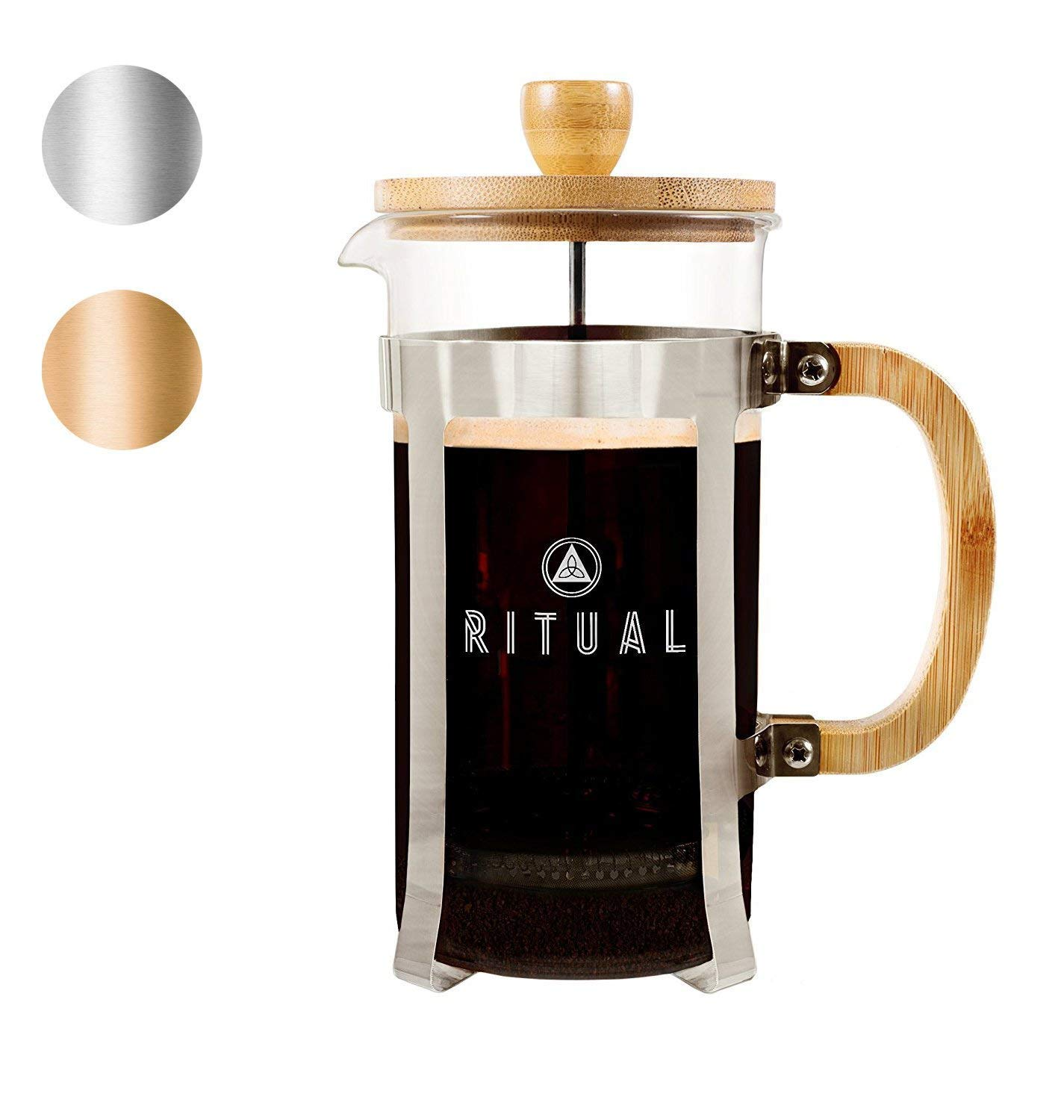 Ritual French Coffee Press (New 2019 Version), Bamboo Wood, Borosilicate Glass, and Stainless Steel, Coffee & Tea Maker with Bonus Filter 36oz/1000ml by Ritual