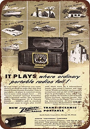 1947 Zenith Trans-Oceanic Portable Radios Vintage Look, used for sale  Delivered anywhere in Canada