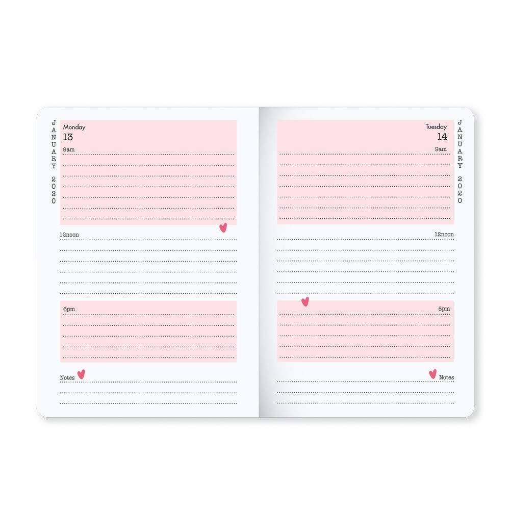 formato A6 A6 rosa Matilda MOO 2020 Agenda giornaliera con copertina flessibile