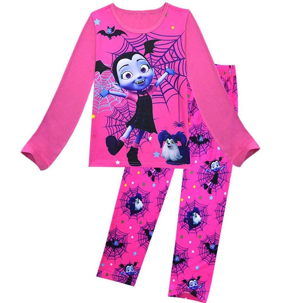 zaring Vampirina Printed Cartoon Long Sleeves Two-Pieces Pajamas Set for Girls Multi