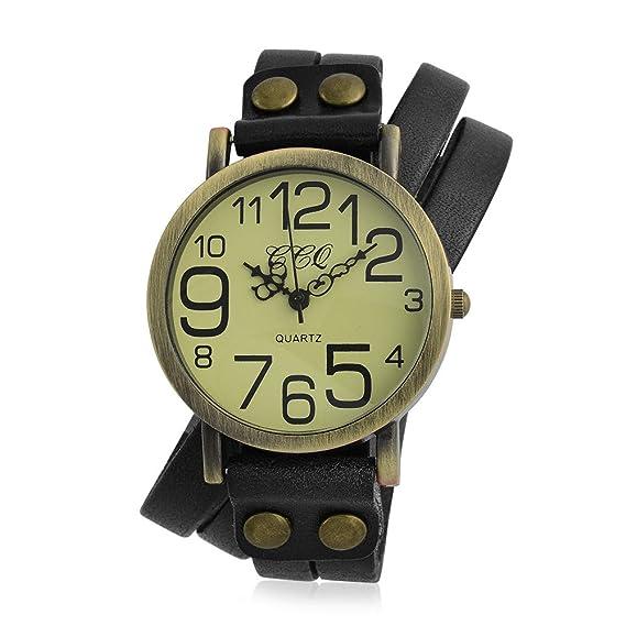 Bling Jewelry largo negro rodee Pulsera de cuero estilo antiguo reloj