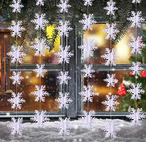 - 3D Snowflake Hanging Bunting Xmas Banner Garland Christmas Party Decoration Set of 2 (10 Feet each) Total 20 feet. by YunKo