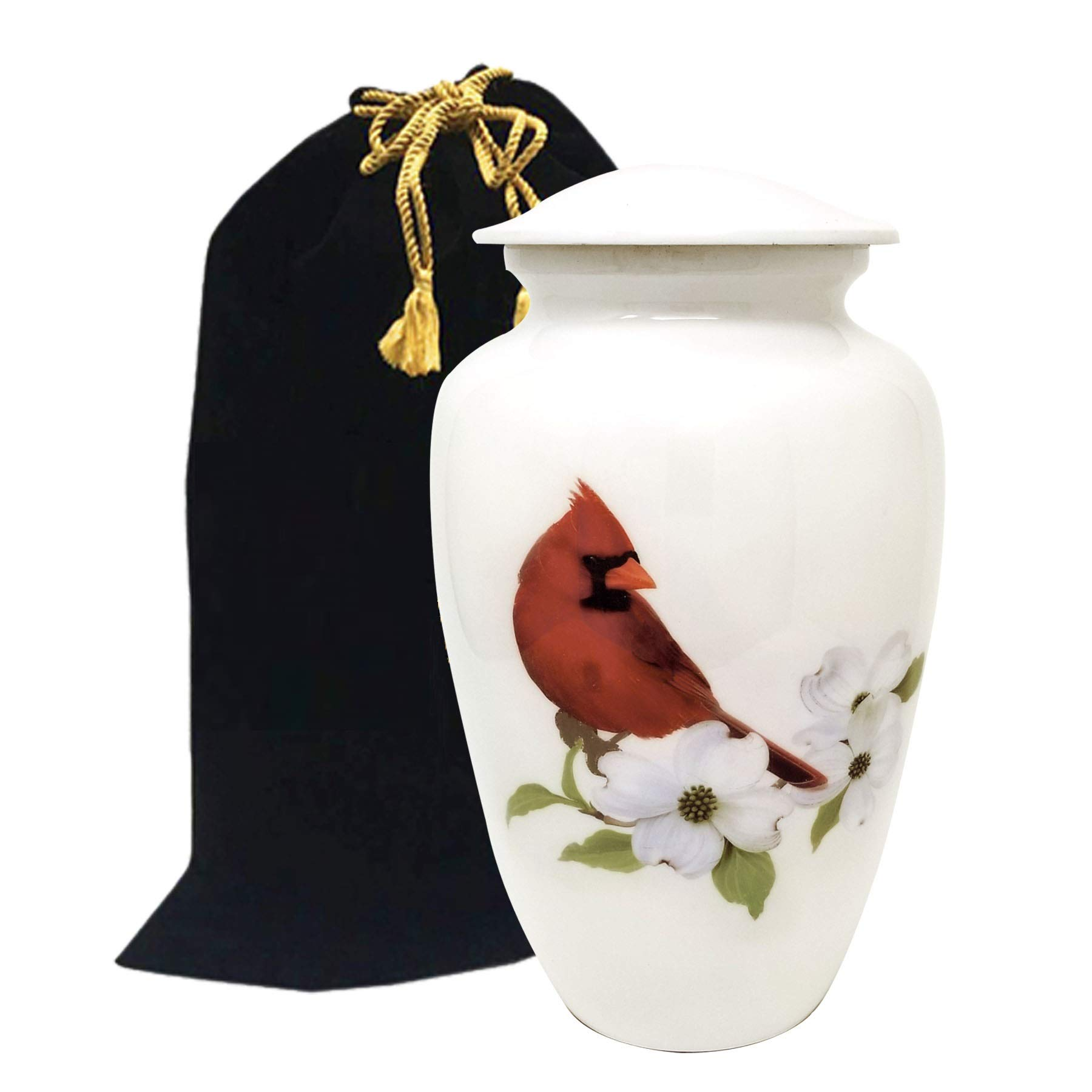 LiveUrns Cremation Urn for Adult Ashes - Cardinal Bird Cremation Urns for Human Ashes - Large Metal Hand Painted Burial and Funeral Cremation Urn, Memorial Urn for Human Ashes - Red Solid Metal Urn by LiveUrns