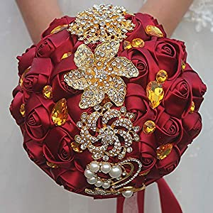 Flonding Handmade Wedding Bouquets Bride Bridal Silk Rose Satin Ribbon Rhinestone Bouquet Romantic Bridesmaid Holding Flowers for Valentine's Day Confession Party Church 52