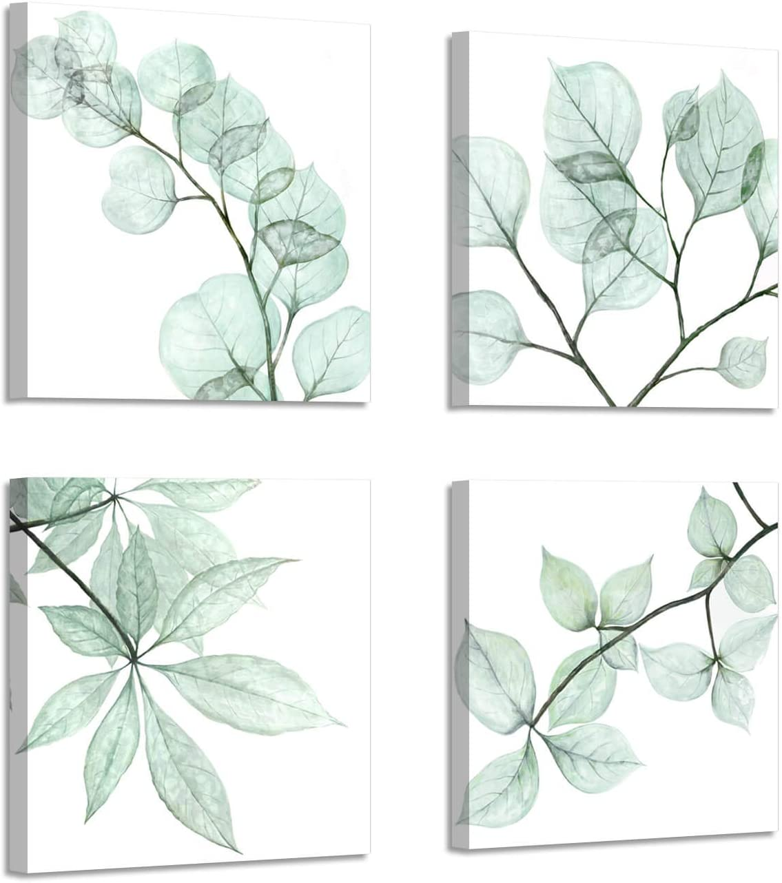 """Natural Leaf Artwork Floral Pictures: Twig Graphic Art Print on Canvas for Bathroom Wall ( 12"""" x 12"""" x 4 Panels )"""