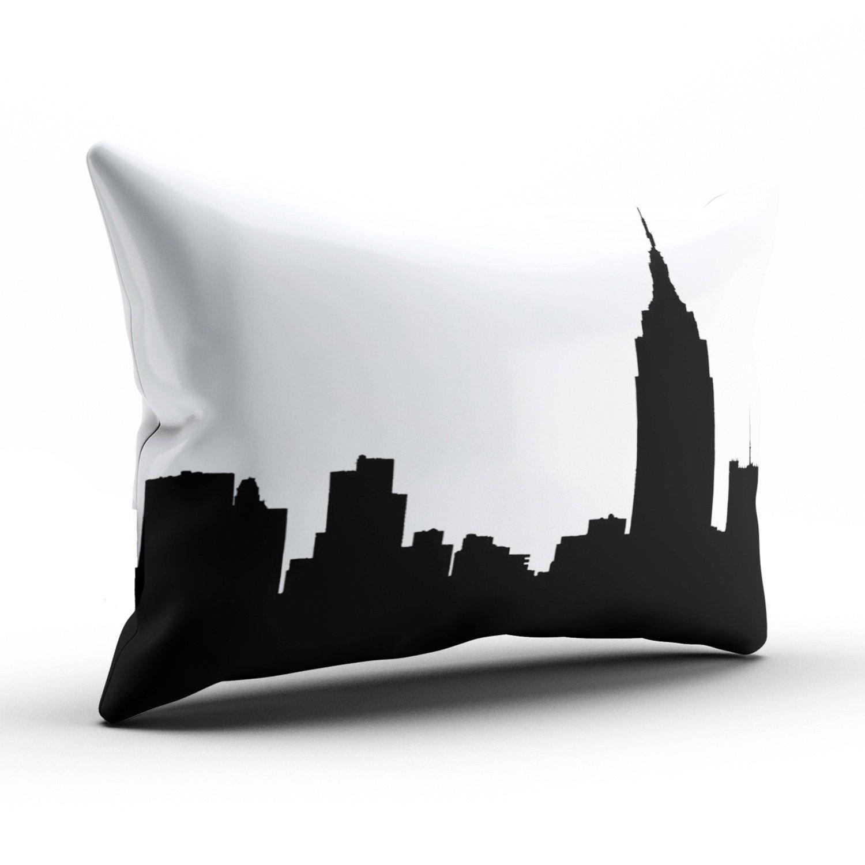keibike personalizada Silueta de Skyline de Nueva York Empire State Bldg rectangular decorativo fundas de almohada de color negro y blanco - con cremallera ...