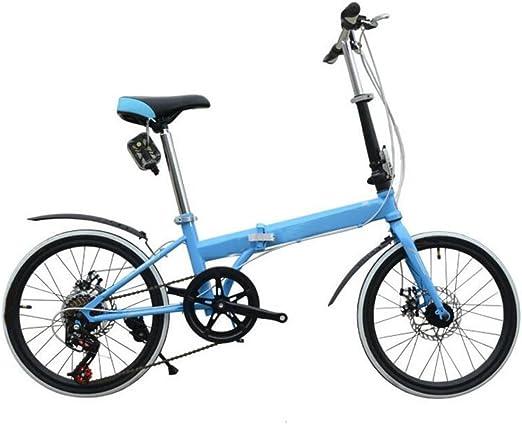 Freno De Disco Plegables Del Coche De 20 Pulgadas Bicicleta Plegable De Lujo Plegables Bicicleta Mini Estudiante Equipo Del Montar A Caballo Del Regalo Del Coche De La Bicicleta,Blue-26in: Amazon.es: Hogar