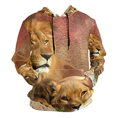 67c700c55 Amazon.com  Nanmma Women Men 3D Digital Print Couple Lion Pullover ...