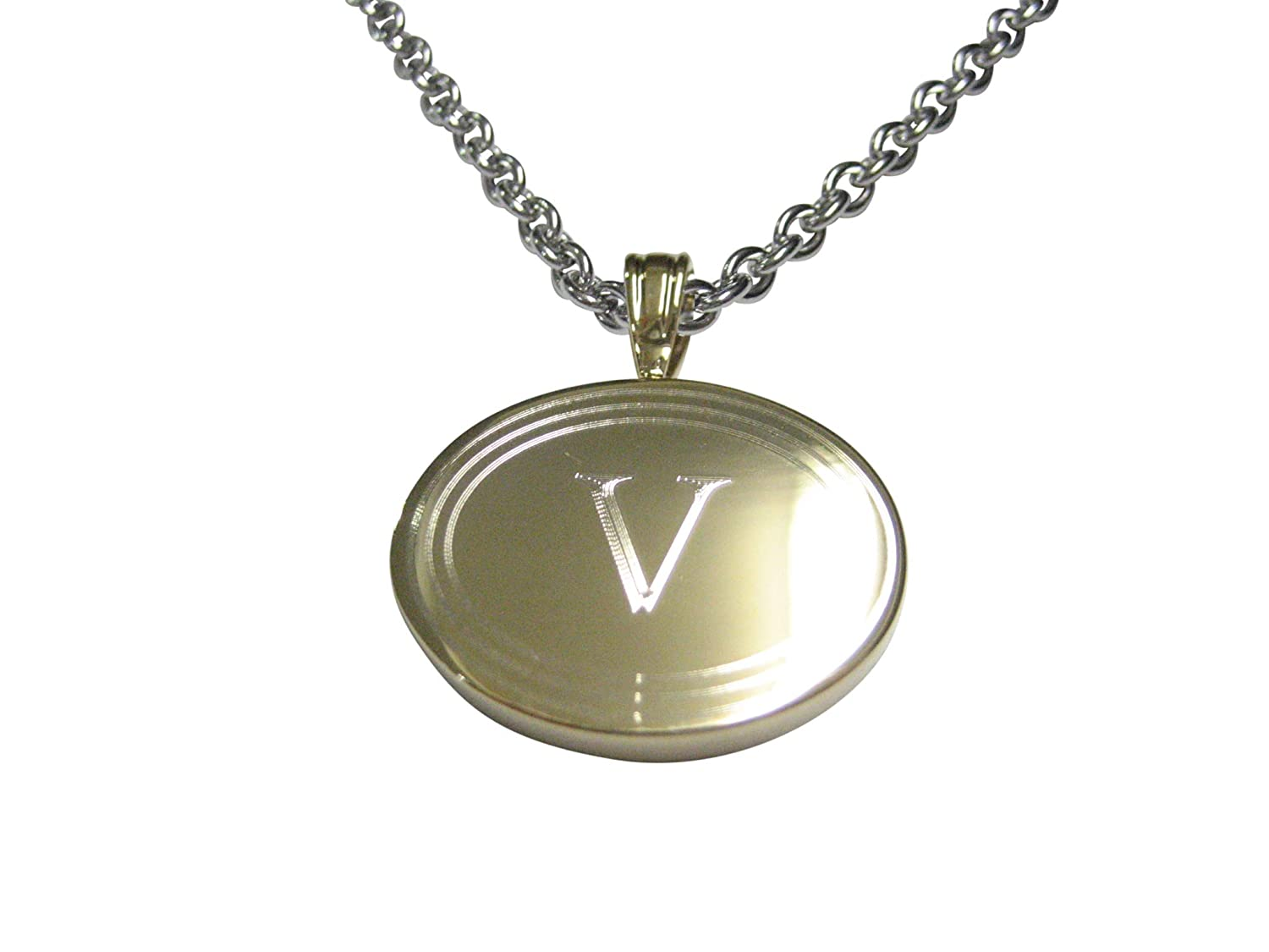 Kiola Designs Gold Toned Etched Oval Letter V Monogram Pendant Necklace