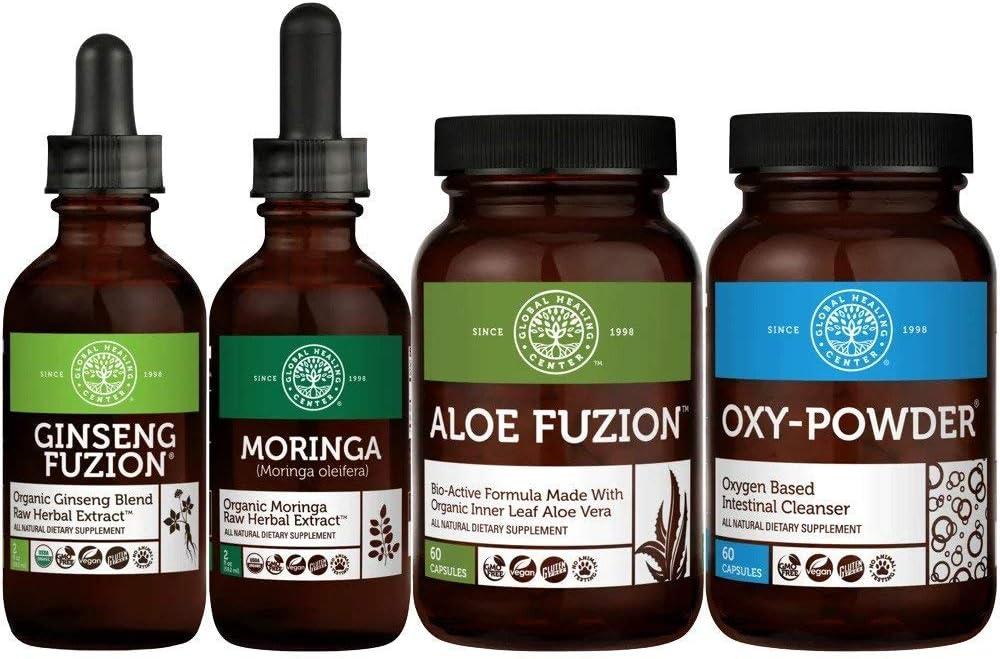 Global Healing Weight Loss Kit - Oxy-Powder & Aloe Fuzion & Ginseng Fuzion & Moringa - Organic & Vegan Supplements Encourages Weight Loss & Natural Body Detox Cleanse - (2 x 60 Capsules)(2 x 2 Fl Oz)