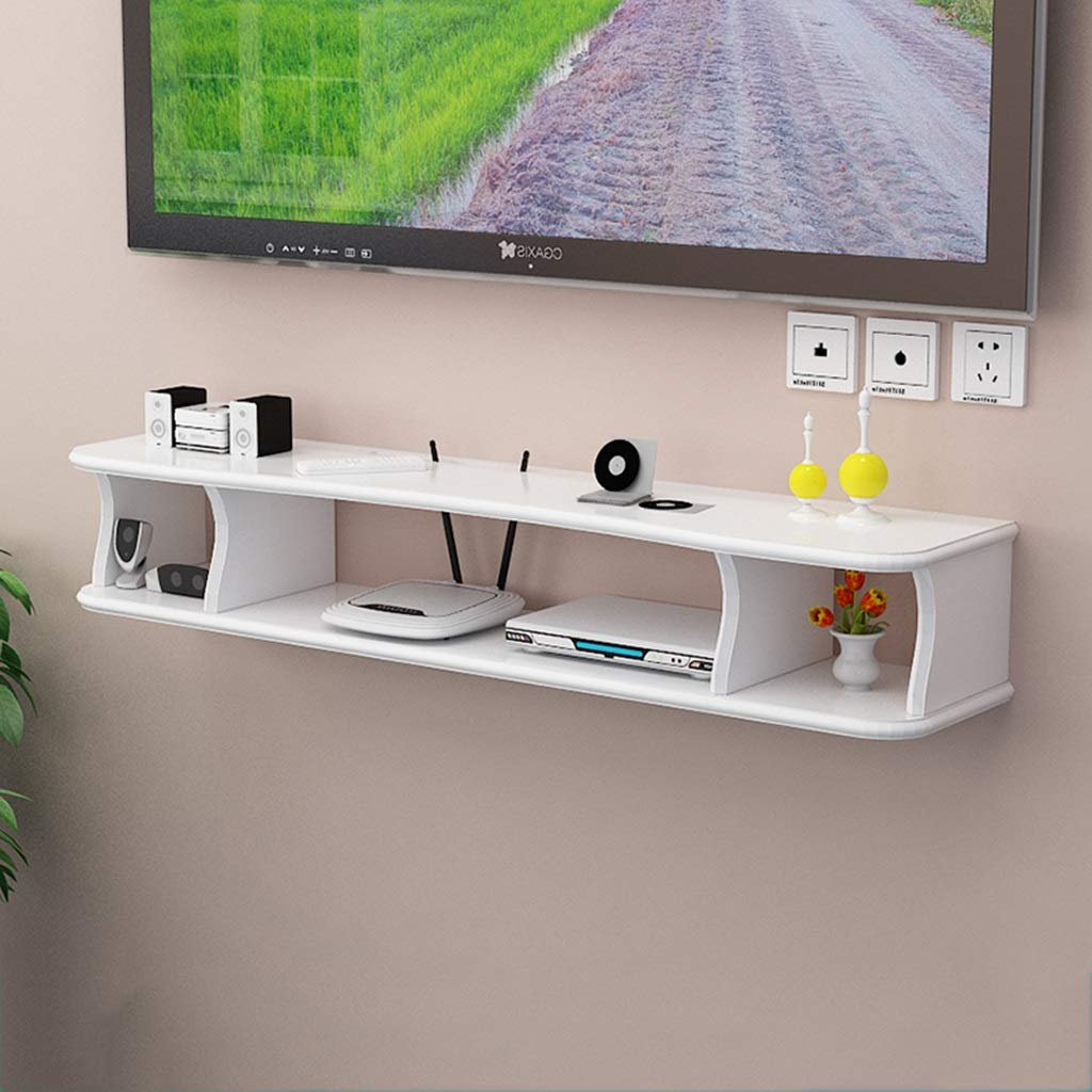 ウォールマウントシェルフウォールフローティングシェルフWifiルーターストレージラックハンガーボックステレビキャビネットの装飾セットトップボックスラックの寝室用リビングルーム (色 : 白, サイズ さいず : 140cm) B07R2J2T6M 白 140cm