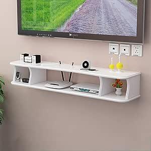 YAXIAO Soporte de TV montado en la Pared Consola Multimedia for enrutador WiFi Caja de TV decodificador de Altavoz Dispositivo de transmisión de la máquina de Juego Flotante Estante de Pared: Amazon.es: