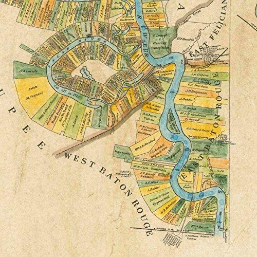 Map Of Louisiana Plantations.Amazon Com 107 Plantation Map Vintage Historic Antique Map Poster