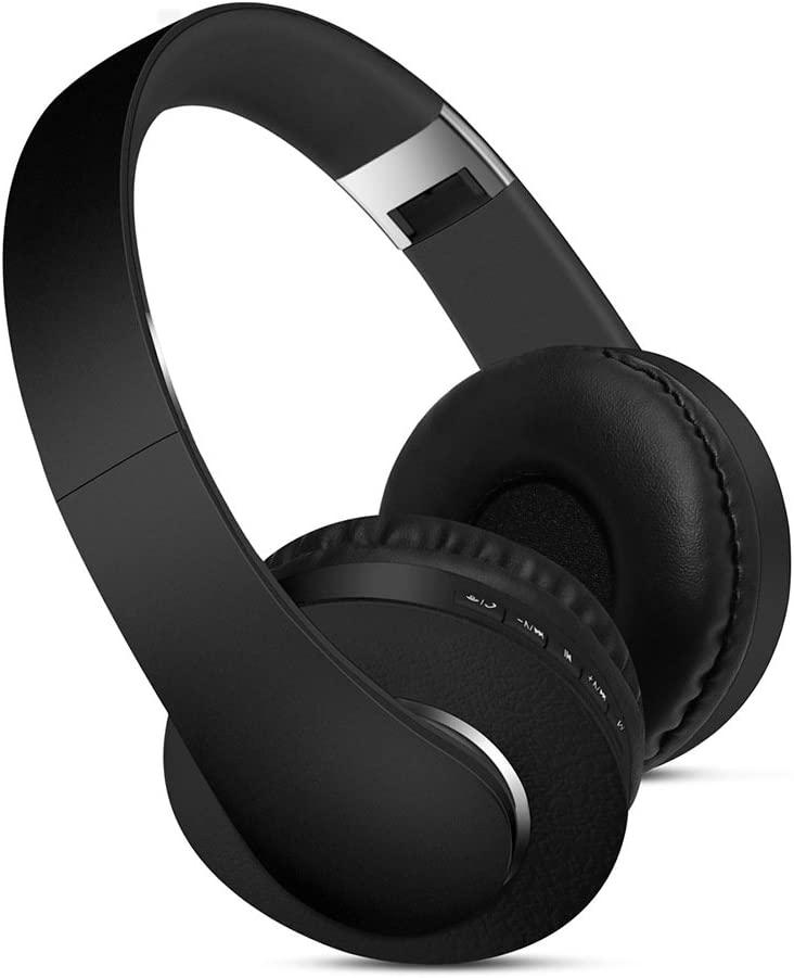Premium Over-Ear Headphones- Foldable Headset with Active Noise Cancelling/Stereo Deep Bass Sound- for TV, Smartphones and All Electronic Devices- On-Ear with Mic/Wireless with Micro SD Slot (Black)