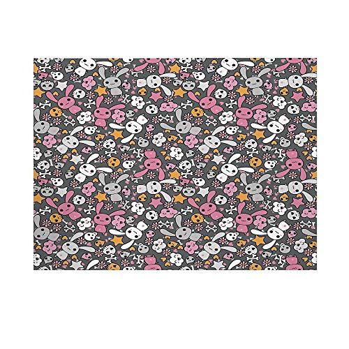 Doodle Photography Background,Kawaii Bunnies and Clouds with Cute Heart Eyed Skulls Japanese Anime Design Print Decorative Backdrop for Studio,8x7ft