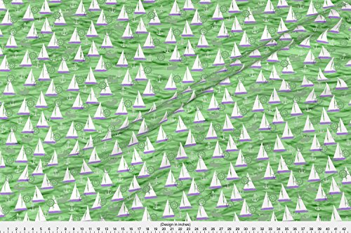Kona Sailboat - Spoonflower Sailing Fabric Sailboats, Whales & Waves In Green And Purple by Lauriekentdesigns Printed on Kona Cotton Ultra Fabric by the Yard