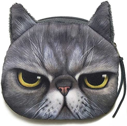 Cute Cat Face Coin Purse Wallet Grey Fur US Seller