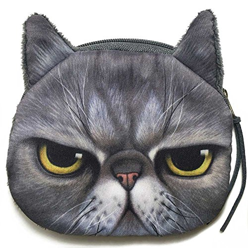 Grumpy Cat Face Mini Coin Wallet | Angry Kitty Head Zipper Closure Purse (Smile Coin Purse Face)