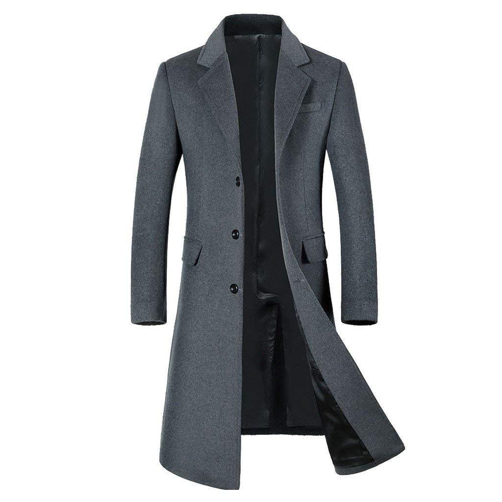 jin&Co Pea Coat for Men Winter Wool Lapel Single Breasted Slim Fit Fashion Long Trench Coat Overcoat Outwear Gray by jin&Co Men's Jacket