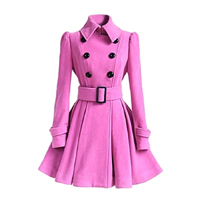 Andopa El columpio zanja con la hebilla del cinturón de imitación de lana peinada Escudo de la túnica para Mujeres: Ropa y accesorios
