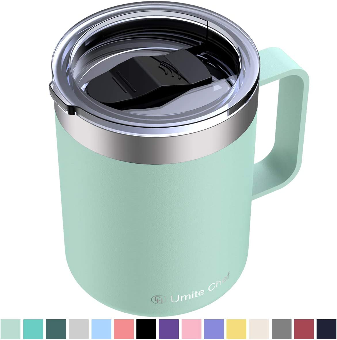 Umite Chef Stainless Steel Insulated Coffee Mug Tumbler with Handle, 12 oz Double Wall Vacuum Tumbler Cup with Lid Insulated Camping Tea Flask for Hot & Cold Drinks(Tiffany Blue)