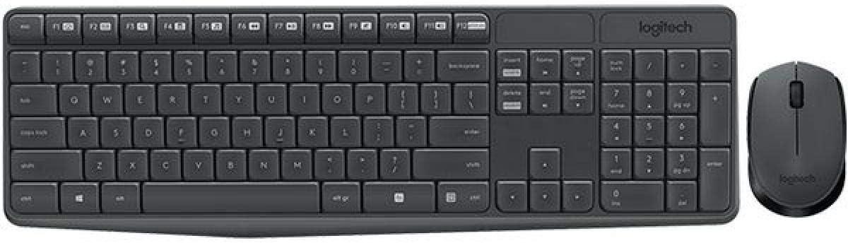 Logitech MK235 Combo Teclado y Ratón para Windows, 2,4 GHz con Receptor USB Unifying, Ratón Inalámbrico, 15 Teclas con Función, Batería de 3 Años, PC/Portátil, Disposición QWERTY Español, color Negro