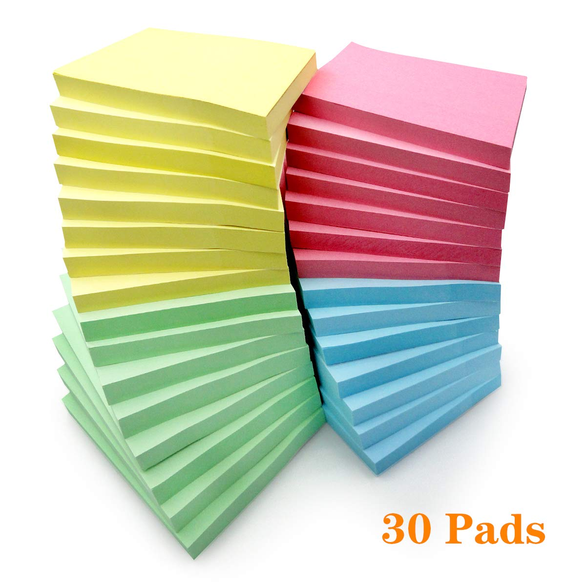 Sticky Notes 3x3 Inches,4 Colored Self-Stick Pads for Office Home School,100 Sheets/Pad,30 Pads