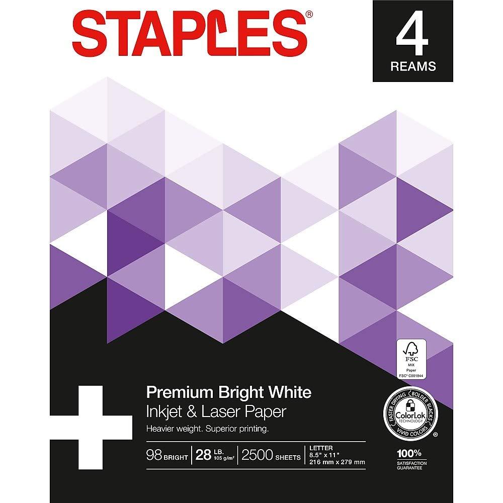 Staples Inkjet & Laser Paper, 8 1/2'' x 11'', Bright White, 4-Ream Case