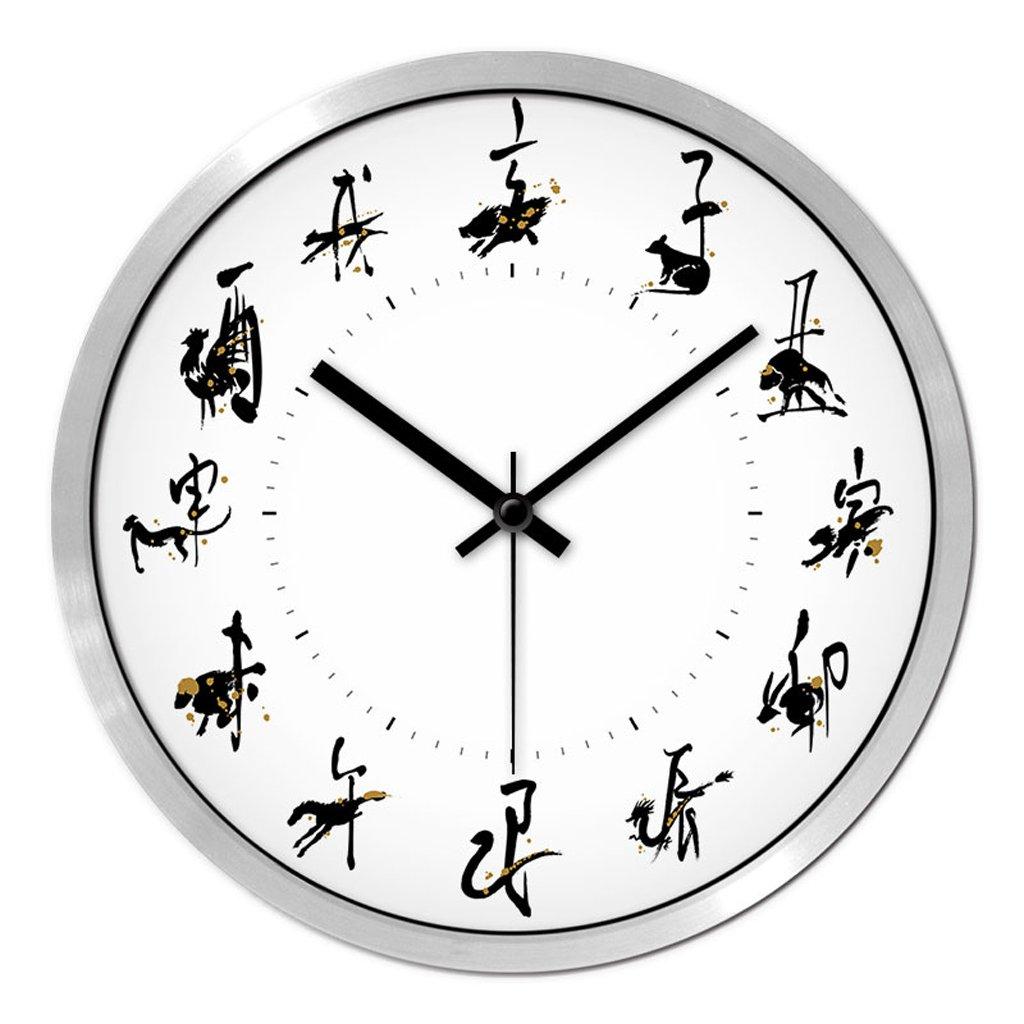 掛け時計 ウォールクロックリビングルームクリエイティブモダン時計クォーツウォッチテーブルベッドルームミュートファッション中国スタイルのクロック Rollsnownow (色 : シルバー しるば゜, サイズ さいず : 12インチ) B07BK2BWDY 12インチ|シルバー しるば゜ シルバー しるば゜ 12インチ