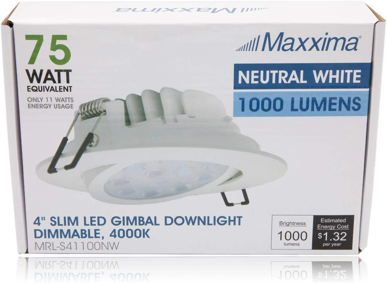 Recessed Retrofit Slim Round LED Gimbal Downlight Maxxima 4 in Flat Panel Light Fixture 1000 Lumens Dimmable 11 Watt Junction Box Included Warm White 2700K