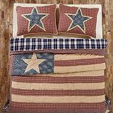 Independence Stars & Stripes 4pc King Quilt Patchwork Quilt-2 Star Shams--3 Star Toss Pillow--Red White & Blue FIRECRACKER SALE!