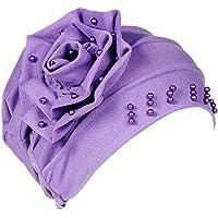 Fossrn Panuelos Cancer Mujer, Mujeres Artificial Perla Tturbante Mujer Musulmana Sombrero Pérdida de Cabello Cáncer…