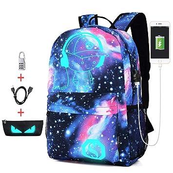 cheerfulus Luminoso USB School Mochila para niños Laptop Mochila Student School Bag con Bloqueo antirrobo, Estuche para lápices, Cable USB: Amazon.es: Hogar
