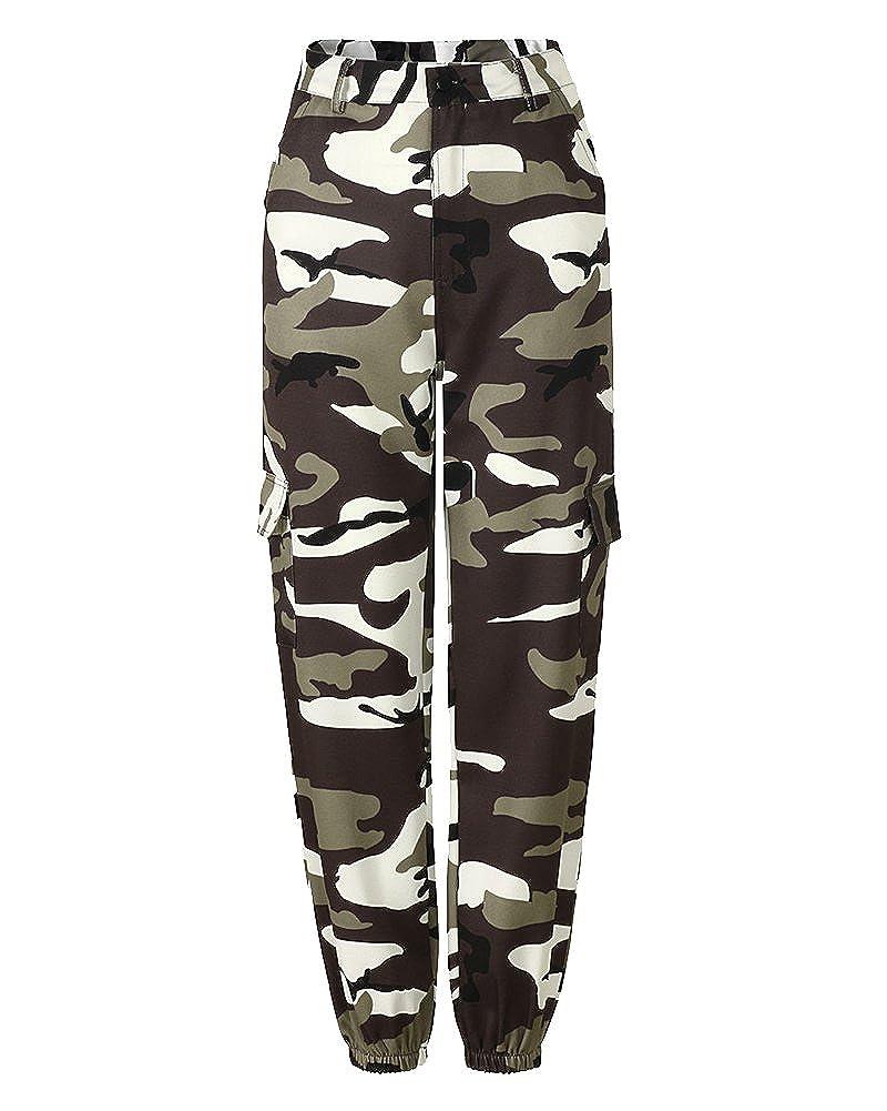 Donna Sciolto Camouflage Stampa Sportivi Tempo Libero Jeans Cargo Pantaloni