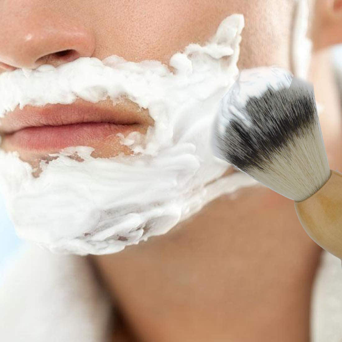 Yolyoo Shaving Brush Set, Shaving Stand with Shaving Bowl,Shaving Brush Natural Solid Wood Handle and Stainless Steel Shaving Stand&bowl Kit for Men