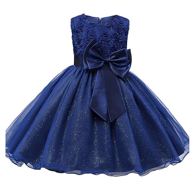 Kids Girl Highdas vestido de fiesta vestido de fiesta de la boda ropa formal adolescente azul