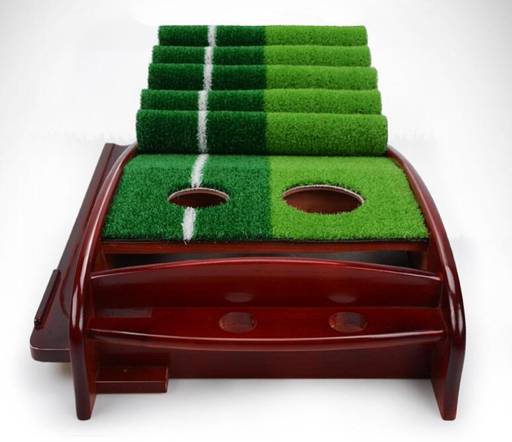 Honghetai Premium Wooden Putting Green Indoor Outdoor Golf, Golf Putting Mat Convenient Indoor Practice Training Aid Mat with Two Holes Ball Return System by Honghetai (Image #4)