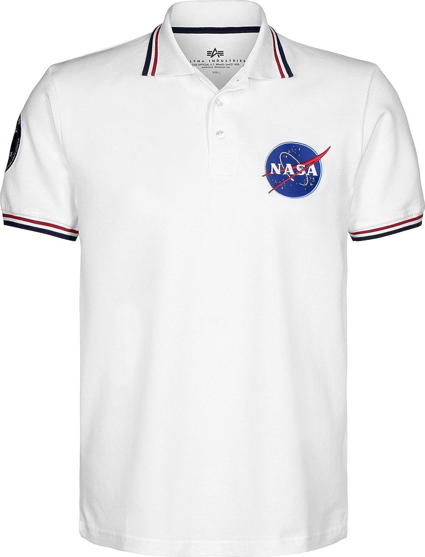 Alpha Industries Men Polo Shirt NASA, Größe:L, Farbe:White: Amazon ...