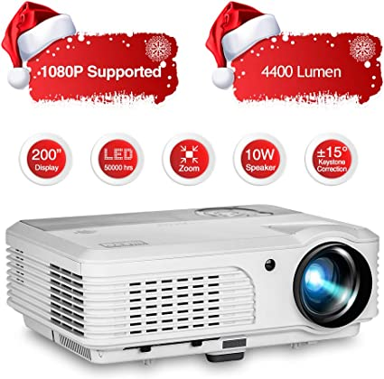 Home Theater Projector 4400 Lumen LED LCD Video Projector HD 1080P Movie Gaming Projector HDMI Multimedia Proyector, HDMI USB RCA Audio VGA AV TV Zoom ...