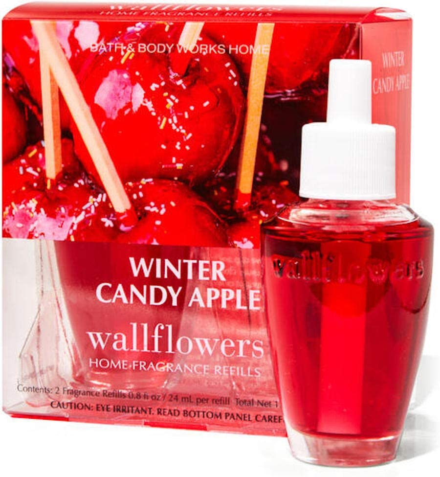 White Barn Candle Company Bath and Body Works Wall Flowers Home Fragrance Refill 2 Pack 0.8 fl oz Each - Winter Candy Apple (Candied Apples, Crisp Pears, Oranges)