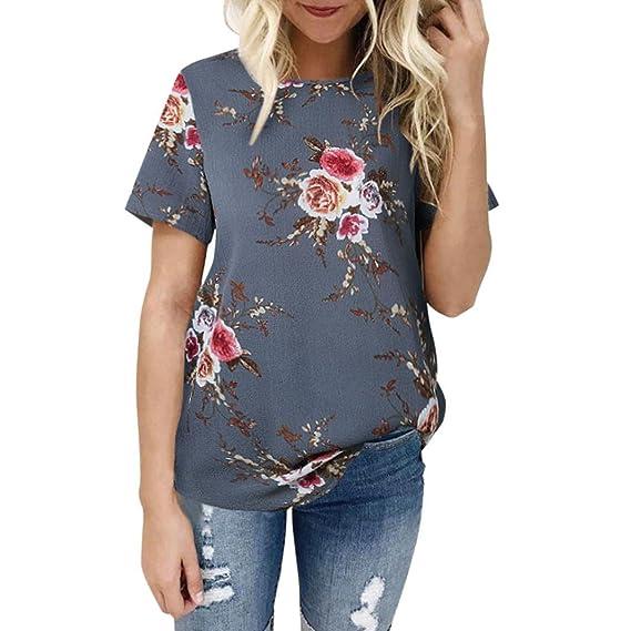 Mujer Camiseta, ❤️Ba Zha Hei Blusa Ajuste Camisa de Manga Corta con Impresión de Flores Mujer Blusa de Cuello Redondo Bordado Flores Casual Transpirable ...