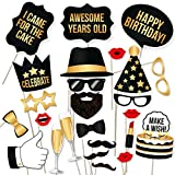 PartyGraphix DIY Happy Birthday Props for Birthday Party Photo Booth Props stand – Suitable for His or Hers Birthday Celebration Photo Booth (34 Count, Black and Gold)