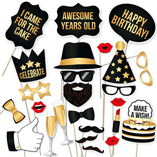 PartyGraphix DIY Happy Birthday Props for Photo Booth Stand - Suitable for His or Hers Party Celebration (34 Count, Black and Gold Kit)]()